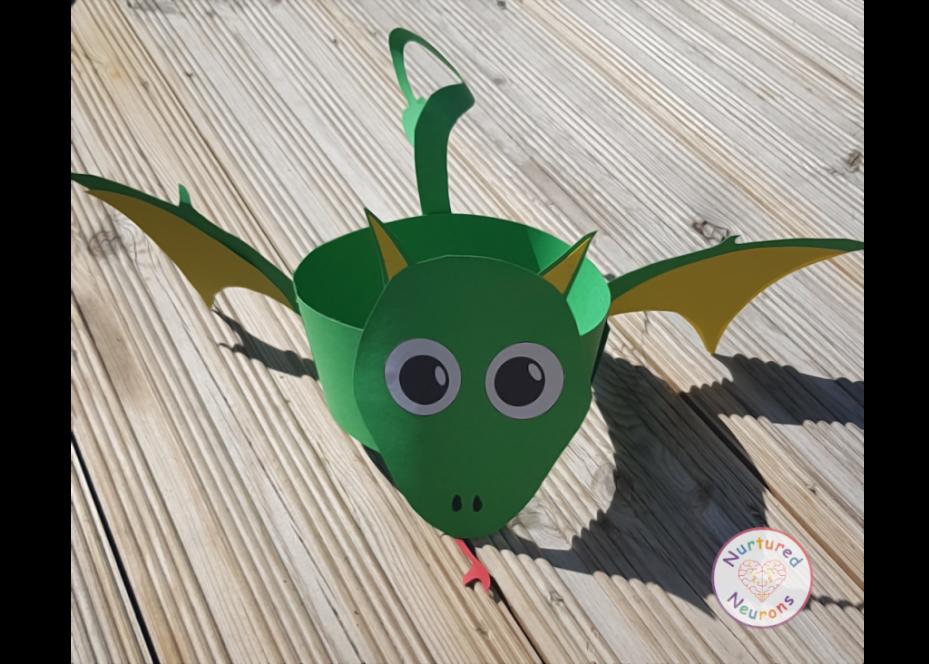 Dragon hat craft for kindergarten and parties
