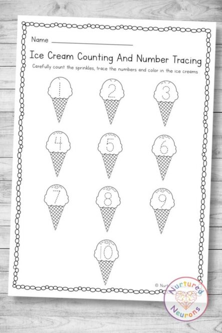 Ice Cream counting and Number tracing page (preschool and kindergarten summer download in pdf)