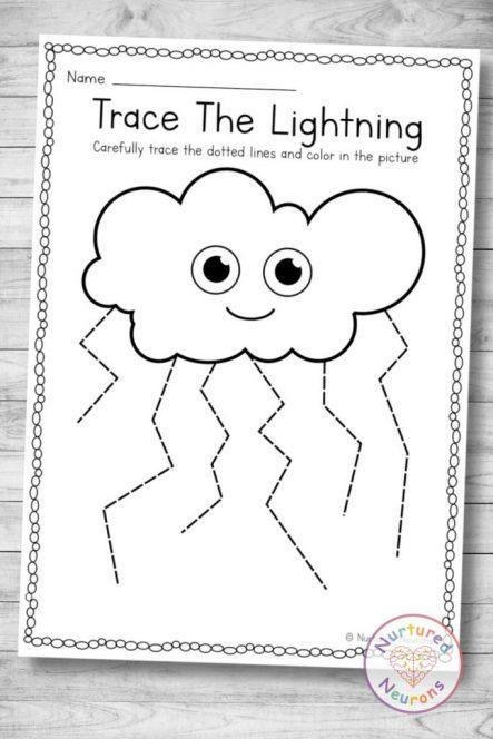 Printable lightning tracing worksheet (preschool and kindergarten download)