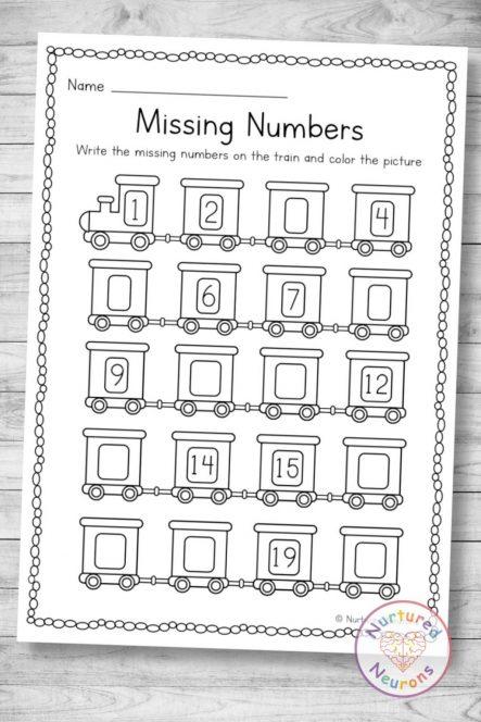 Printable train missing numbers worksheet 1-20 (preschool and kindergarten download pdf)