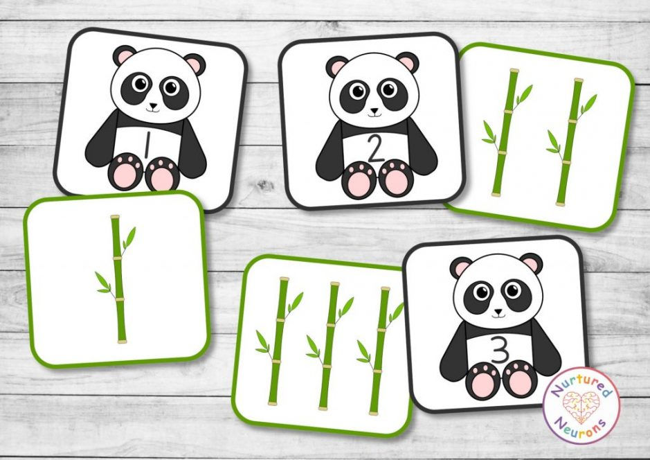 panda counting game for preschool and kindergarten - hands on math activity