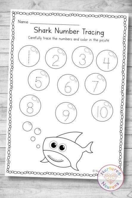 printable baby shark Number tracing page (preschool and kindergarten download)