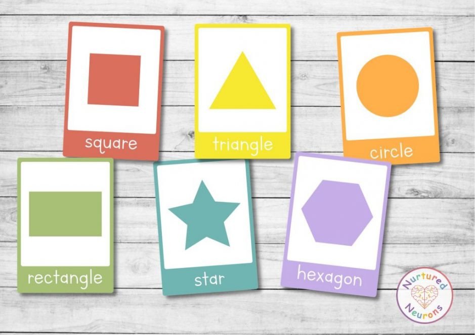 printable kindergarten 2D shape flashcards for preschool with 2d shape examples