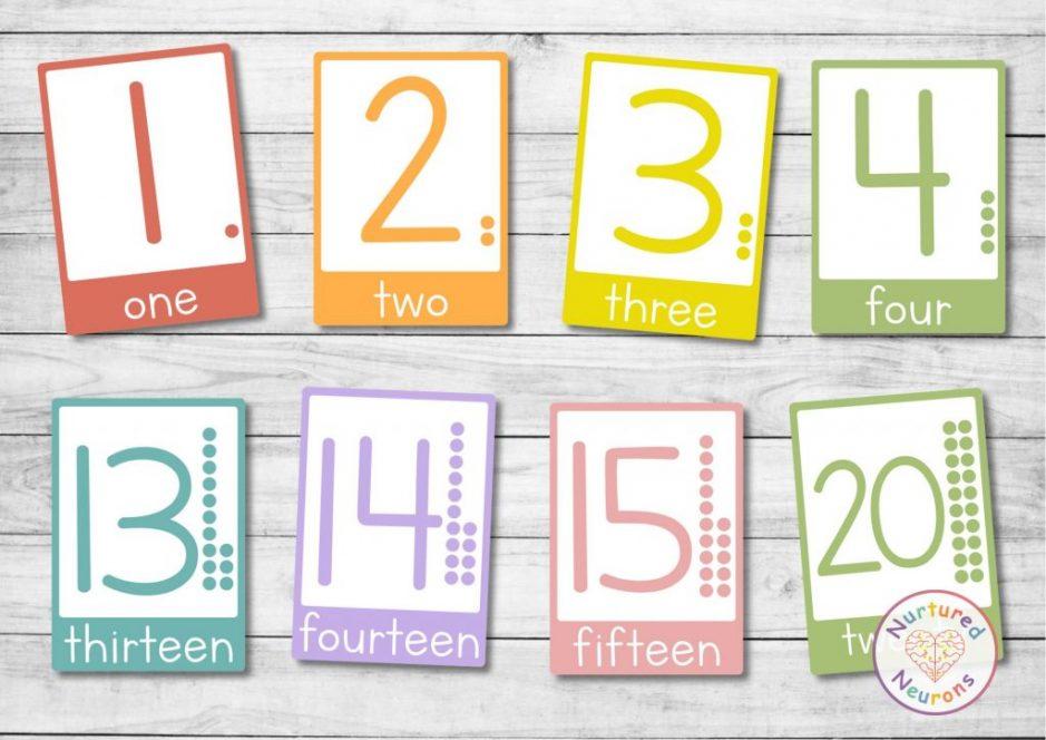 printable kindergarten counting number flashcards for preschool beautiful design