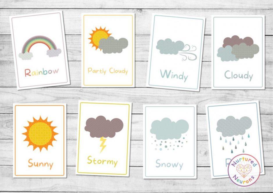 printable kindergarten weather flashcards for preschool beautiful design