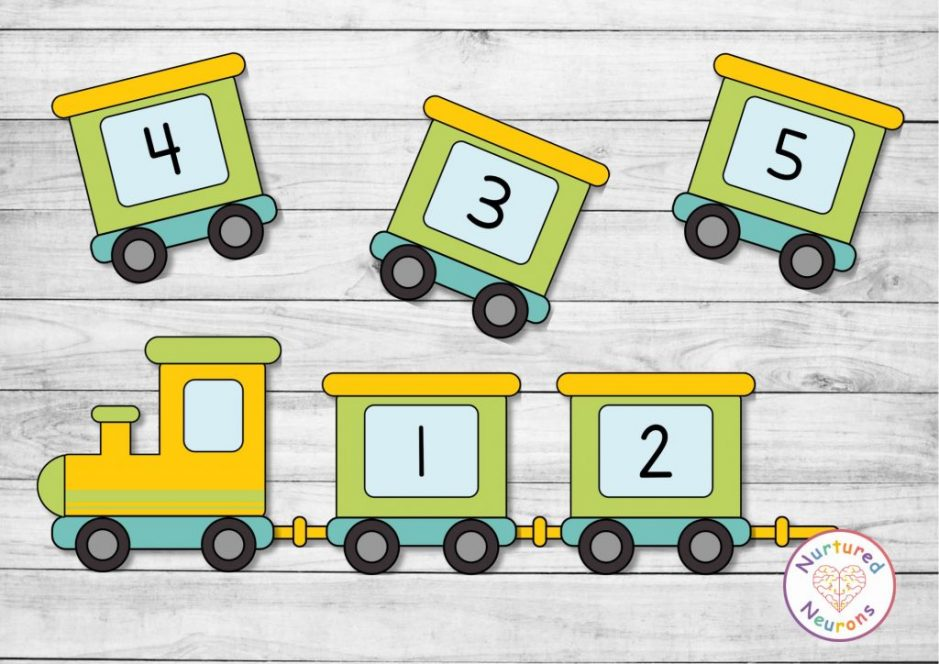train number ordering game for preschool and kindergarten - transport theme math activity